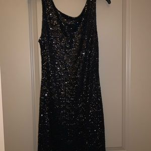 Black Sequin Sleeveless Mini Dress
